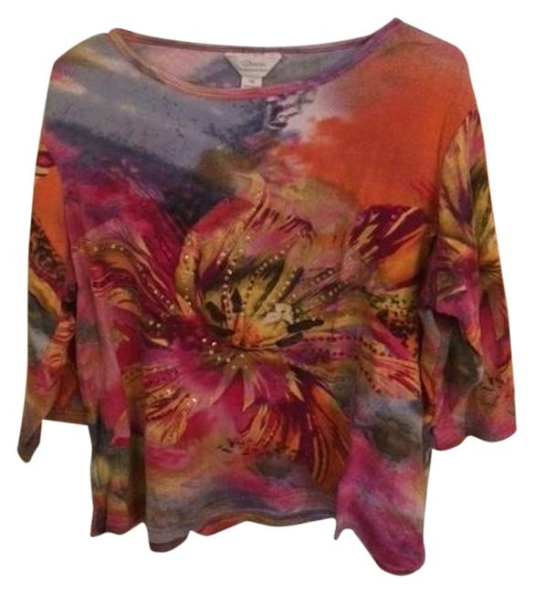 Item - Multicolor Embellished Bright Colors Tee Shirt Size 20 (Plus 1x)