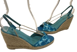 Coach Made In Spain Espadrille Light & dark blue fabric backed leather Wedges
