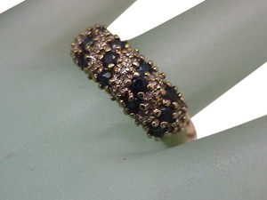Other Estate Vintage 14K Gold Yellow Diamonds & Sapphires Wedding Ring Band,1950s