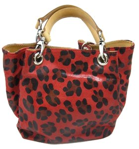 Maurizio Taiuti Lepoard Print Holidays Leather Italy Bucket Canvas Tote in Red Black Beige