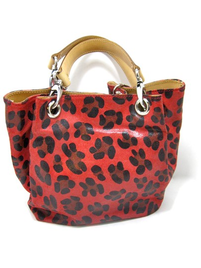 Reserved For Liza Maurizio Taiuti Lepoard Print Holidays Leather Italy Bucket Canvas Tote in Red Black Beige