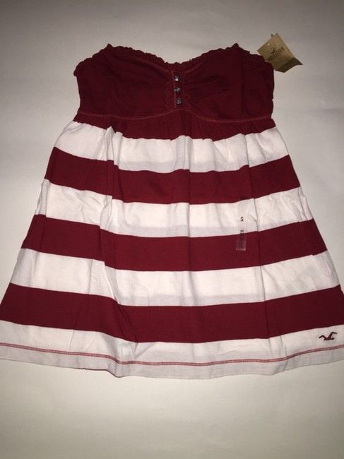 Hollister Top Burgundy And White Image 1