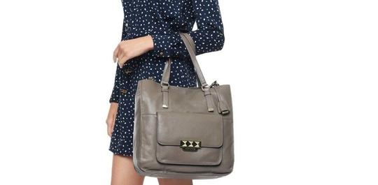 Juicy Couture Large Leather Rockstar Carry All Studded Tote in Stone