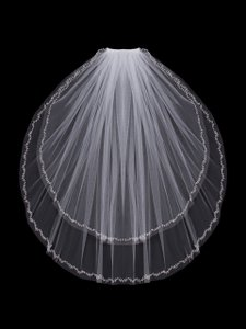 EnVogue Bridal Ivory Two Layer Fingertip Wedding Veil With Beaded Edge