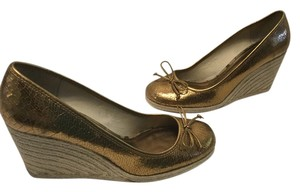 Coach Espadrille With Shoebox Bronze metallic cracked leather Wedges