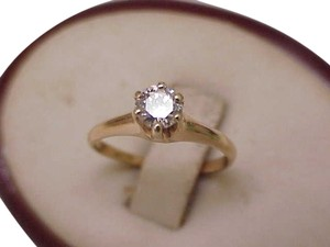 Estate Vintage 12K Yellow Gold .50ct VS Solitaire Diamond Engagement Ring,1930s