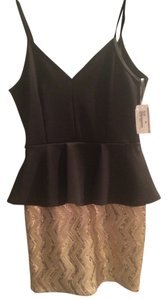 Necessary Clothing Sequin Cocktail Formal Gold Peplum Dress