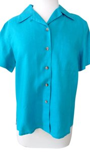 Rafaella 100% Linen Mashine Wash Front Pocket Front Button Straight Bottom Top Turquoise