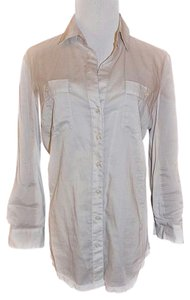 Club Monaco Button Front Shirt Size Large 3/4 Sleeves Button Down Shirt Beige, Light Tan