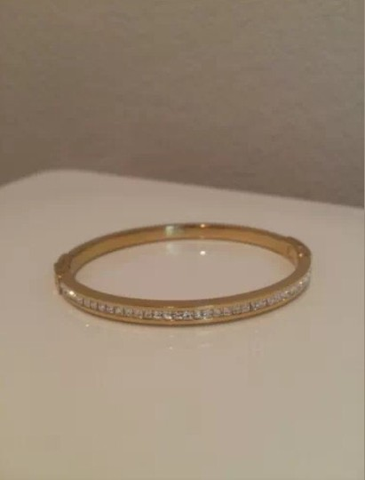 Michael Kors Micheal Kors Gold Brilliance Glitz Pave Thin Hinged Bangle