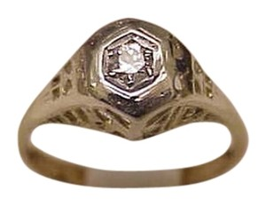 Other Incredible works of Art Deco 14K 2-Tone Gold Filigree .15ct Diamond Ring, 1900s