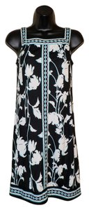 Mary McFadden short dress Black, White & Aqua Polyester Comfortable on Tradesy