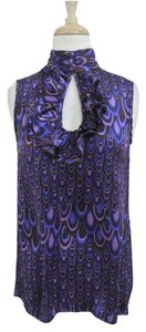 Nanette Lepore Printed Silk Sleeveless Keyhole Top purple