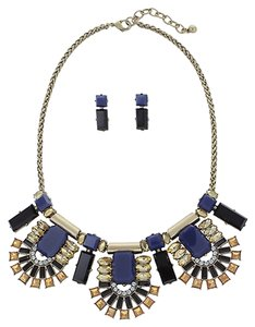 Embellished Stone Statement Necklace Set in Blue and Black Color