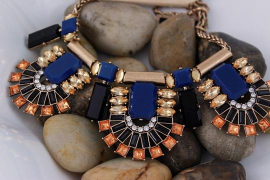 Other Embellished Stone Statement Necklace Set in Blue and Black Color