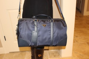 Prada Nylon Weekender Duffle Blue Travel Bag