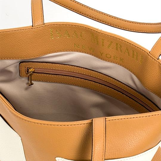 Isaac Mizrahi Tote in Camel / Antique White