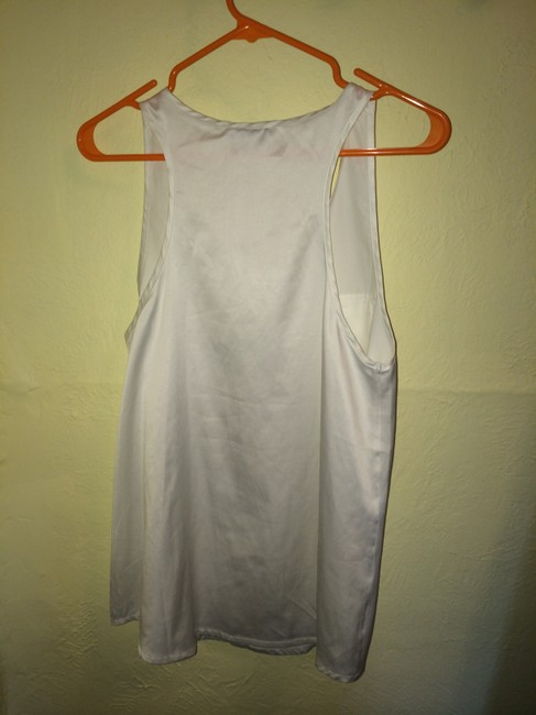 Romeo & Juliet Couture & Off White Work Play Double Pockets Scoop Neck Silk Top Cream