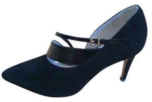 Reiss Classic Leather Suede Black Pumps
