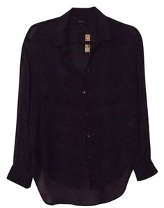 Madewell Button Down Shirt Navy & Black Plaid