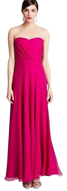 Item - Fuchsia Sweetheart Neckline Strapless Softly Pleated Bodice Empire Waist. Pink Gown Halter Sweetheart Prom Long Formal Dress Size 4 (S)