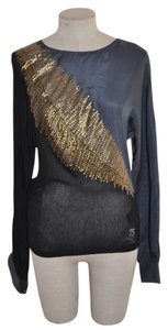Pepe Jeans Sequin Feather Night Out Top Blue & Black