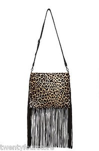 THEPERFEXT Blair In Leopard Pony Hair Fringe Tassel Cross Body Bag