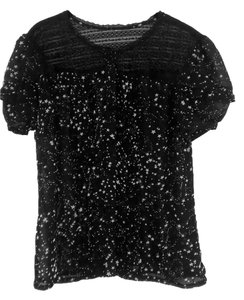 Mossimo Holiday Stars Laced Button Down Shirt Black
