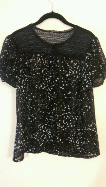 Mossimo Supply Co. Holiday Stars Laced Mesh Button Down Shirt Black