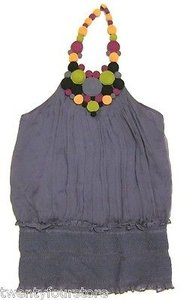 Catherine Malandrino Silk Purple Halter Top