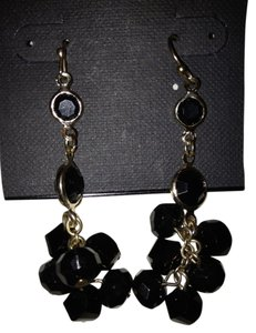 White House | Black Market Black Beaded Earrings with Gold Hardware