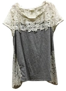 Meadow T Shirt black and cream