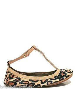 Yosi Samra Erica Pony Hair Leopard Print W T Strap Chain Multi-Color Flats