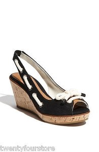 Sperry Top Sider Southport Slingback Wedge Cork Black Platforms