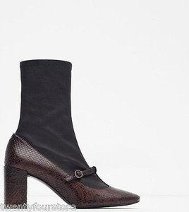 Zara Leather Ankle In 1 Snake Texture Brown Boots