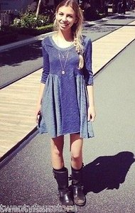 Free People short dress Blue People Beach Good Morning Sunshine In Slub Cotton Denim on Tradesy