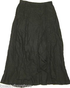Anthropologie Linen Bunched Pleat In Maxi Skirt Black