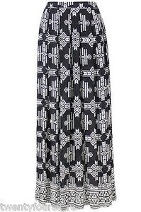 Tolani Silk White Tribal Print Maxi Skirt Black