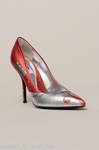 Moschino Mocola Cola Print High Heel Silver Pumps