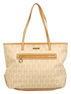 Michael Kors Monogram Kempton Tote in Tan