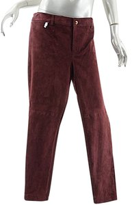 Ralph Lauren Suede Straight Pants wine