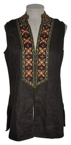 Chico's Embroidered Casual Resort Tribal Ethnic Top Brown