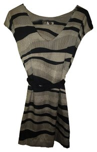 Lush Geo Sash Black And Cream Versitillity Mix Media Stripes Dress
