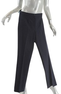 Chanel Stretch Clean Front Straight Pants Navy
