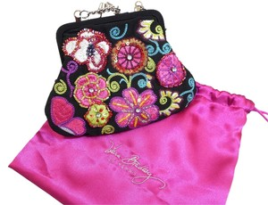 Vera Bradley 25th Anniversary Miniature Kisslock Pink Green White Beaded Rhinestones Dust Black with colorful embroidery Clutch