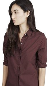 Everlane Poplin Classic Button Up Button Down Shirt Burgundy
