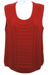 St. John Red Wool Knit Top