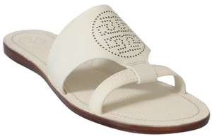 Tory Burch Perforated Logo Leather Ivory Sandals