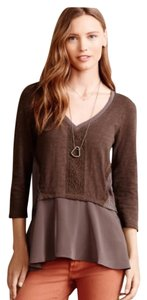 Anthropologie Peplum Chiffon Meadow Rue Top Grey/Taupe
