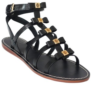 Tory Burch Kira Gladiator Leather Black Sandals